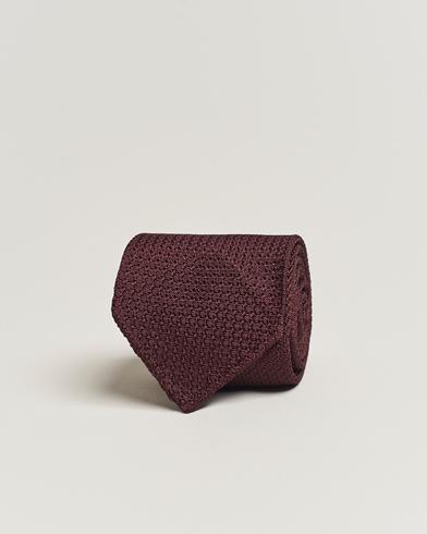 Drake's Silk Grenadine Handrolled 8 cm Tie Wine Red