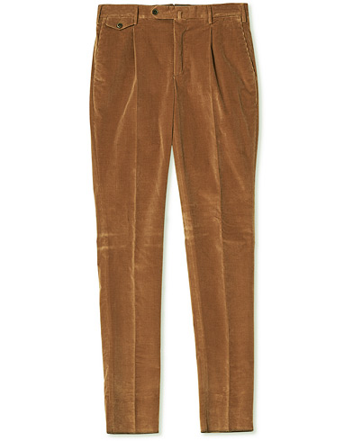 PT01 Gentleman Fit Pleated Corduroy Trousers Caramel