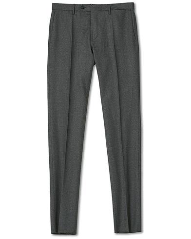 Incotex Slim Fit Washable Flannel Trousers Grey Melange