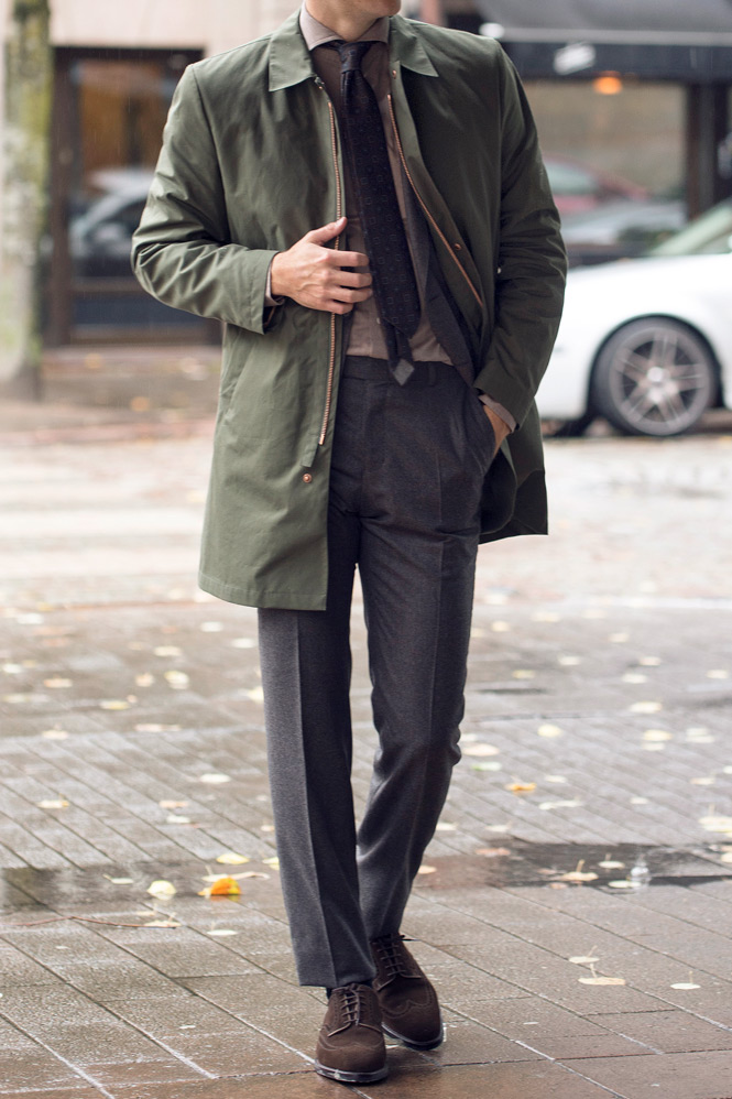 Car coat med kostym