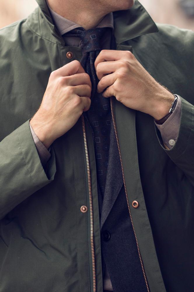 Närbild på car coat med kostym