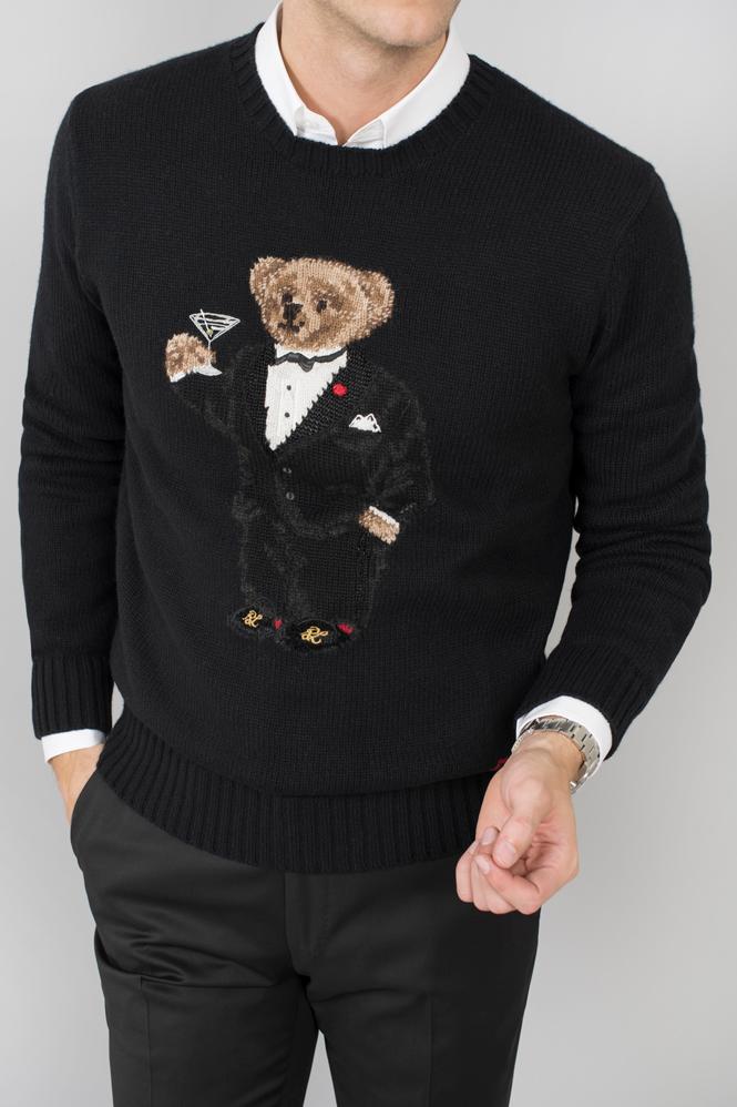 Tröja med smokingklädd nallebjörn