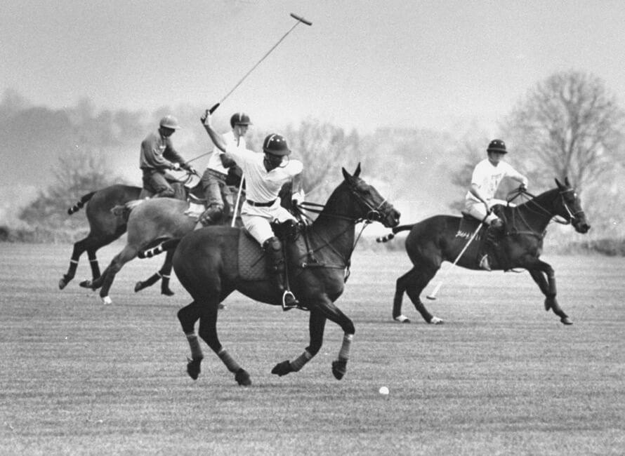Vintage bild med hästpolospelare